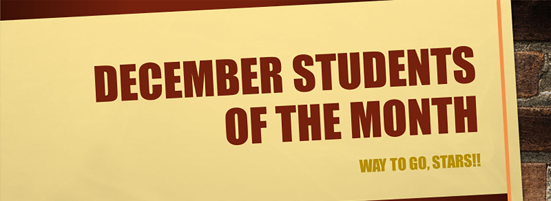 Banner reading December Student of the Month